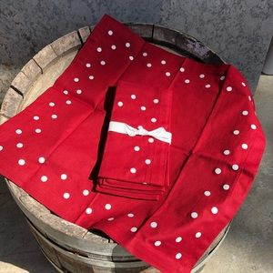 Pottery Barn red polka dot fabric napkins